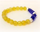 Yellow Stone & Blue Glass Cube Geometric Bead Bracelet - Lemon Yellow Agate, Stardust Silver and Royal Blue Cube Beaded stackable