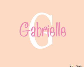 Personalized Name and Monogram Vinyl Decal- Girls Room or Nursery