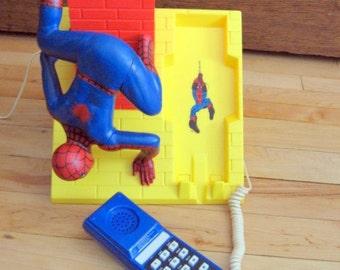 1980s The Amazing Spiderman Pushbutton Telephone in original box