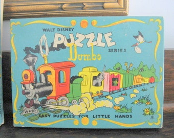 "SALE 1950s Ontex Walt Disney Puzzle Series 501 Dumbo ""Easy Puzzles for Little Hands"" Pet Puzzles Made in Canada Set of 4"