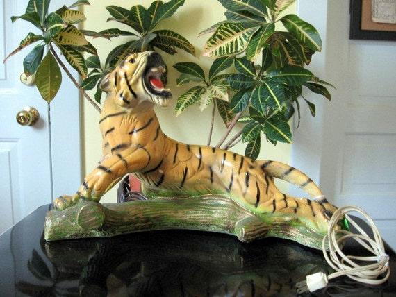 1950s-60s Chalkware Roaring Tiger TV Lamp