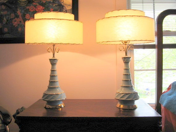 1950s Set of Two Baby Blue and Gold Decorative Lamps