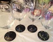 Set of 4 Chalkboard Bottom Wine Glasses