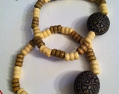 Wooden Bracelet with Large Accent Bead