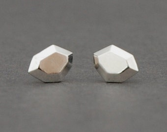 Faceted polygon stud earrings in sterling silver