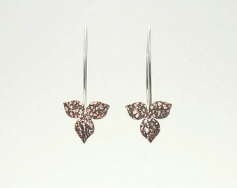 Small three leaf earrings in copper and sterling silver