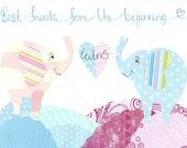 Nursery Decor, Baby Nursery, Childs Decor, Wall Art, Baby Room, 8x10 Print, Collage, Twins, Blue, Pink, Elephants, Love, Best Friends