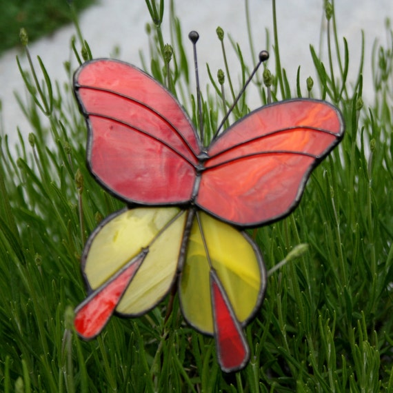 Stained Glass Butterfly Garden Ornament, Orange and Yellow
