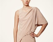 """50% SALE Taupe """"Opposites Attract"""" Asymmetrical Sleeve Dress"""