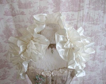 Gothic Steampunk Shrug Bridal Lolita Burlesque Goth  PURITAE Silk Wedding Shrug By Aphrodites Folly