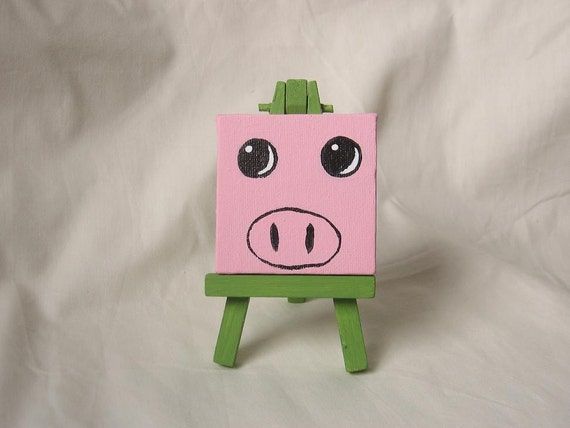 Pig Art - Henry The Pig Original Mini Painting