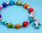 Young Ladies Crystal Butterfly Charm Bracelet In Four Colors Little Girls Rainbow Colored Mother Of Pearl Shell Girls Rainbow Colors