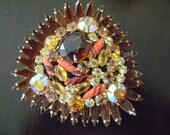 Large vintage Amber-colored brooch