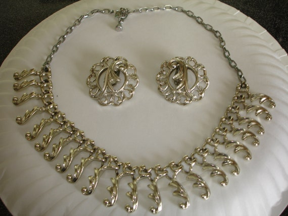 Silver Sarah Coventry Necklace & Earrings Set