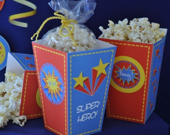 Super Heroes party pdf printable popcorn box / favor box INSTANT DOWNLOAD treat box for superhero birthday party