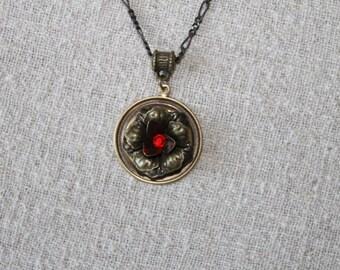 Brass Necklace with Red Swarovski Jewel is a Great July Birthstone,Christmas gift, red Swarovski crystal,Birthday gift, Valentine's Day gift