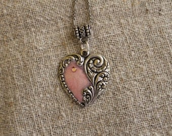 Oxidized Silver Plated Pink Enameled Heart with a Pink Rhinestone, Valentine's Day gift, Christmas gift, Birthday gift, Graduation gift,