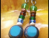 Czech Glass Beaded Earrings In Teal, Green , Tan and Turquoise