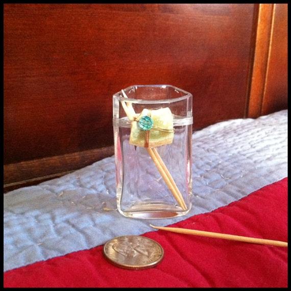 Vintage crystal toothpick holder.