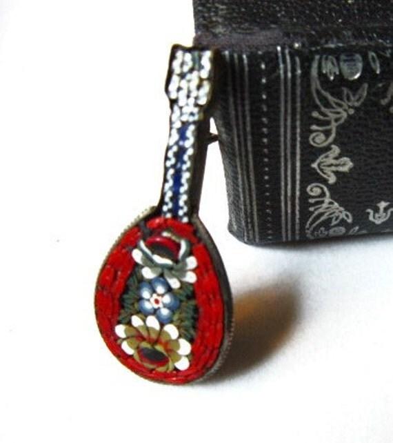 Millefiori Mandolin Pin, Itallian Glass Mosaic Brooch  ID 001