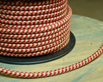 6 Feet: Hounds-Tooth Cloth Covered 3-Wire Round Cord, Vintage Style Fabric Lamp Pulley Cord, For Hanging Pendants, Trouble Lights etc