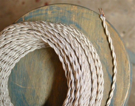 6 Feet: White Twisted Cloth Covered Wire, Vintage Style Cloth Lamp Cord, For Hanging Pendants, Trouble Lights etc