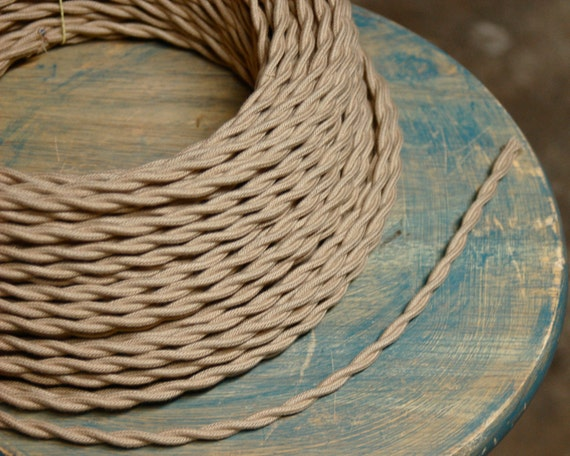 6 Feet: Tan / Beige Twisted Cloth Covered Wire, Vintage Style Cloth Lamp Cord, For Hanging Pendants, Trouble Lights etc
