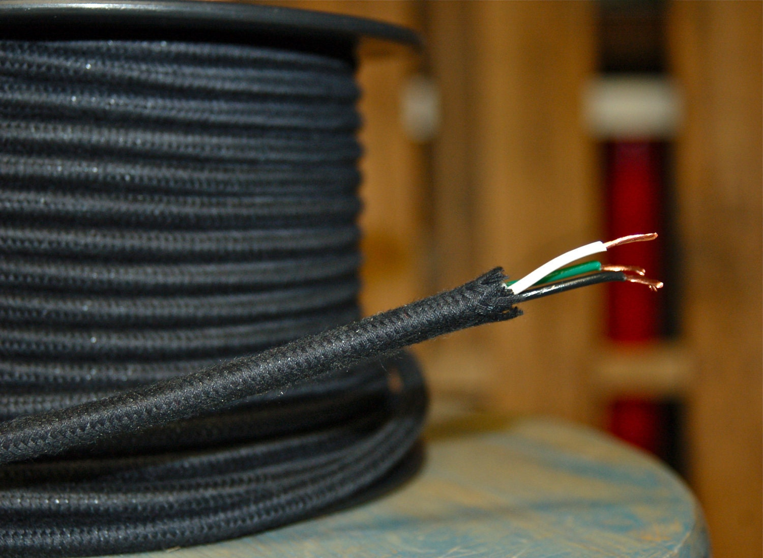 6 Feet: Black Cotton Cloth Covered 3-Wire Round Cord Vintage