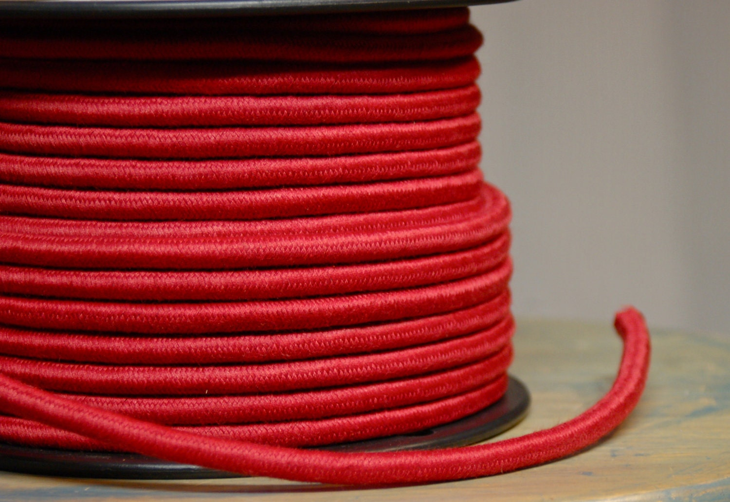 feet red cloth covered 3 wire round cord vintage style