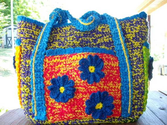 Crochet Baby Diaper Bag Patterns : Crochet Multicolor Baby Diaper Bag