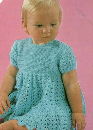 Vintage Baby Girls Crochet Dress 1970s Size 18ins 24ins Yarn