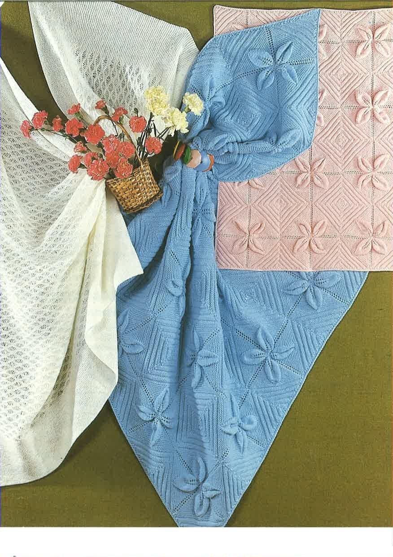 Knitting Pattern Babies Cot Cover Pram Blanket Babies Shawl