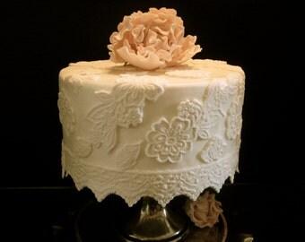 Elegant Fondant Lace Cake Decorating Kit - 6 Inch Round