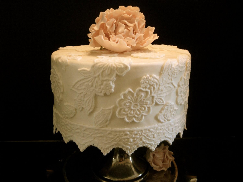 Elegant Fondant Lace Cake Decorating Kit 8 Inch Round