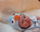 Handmade Crochet Newborn Blue Baby Bird Hat Photoprop Made To Order