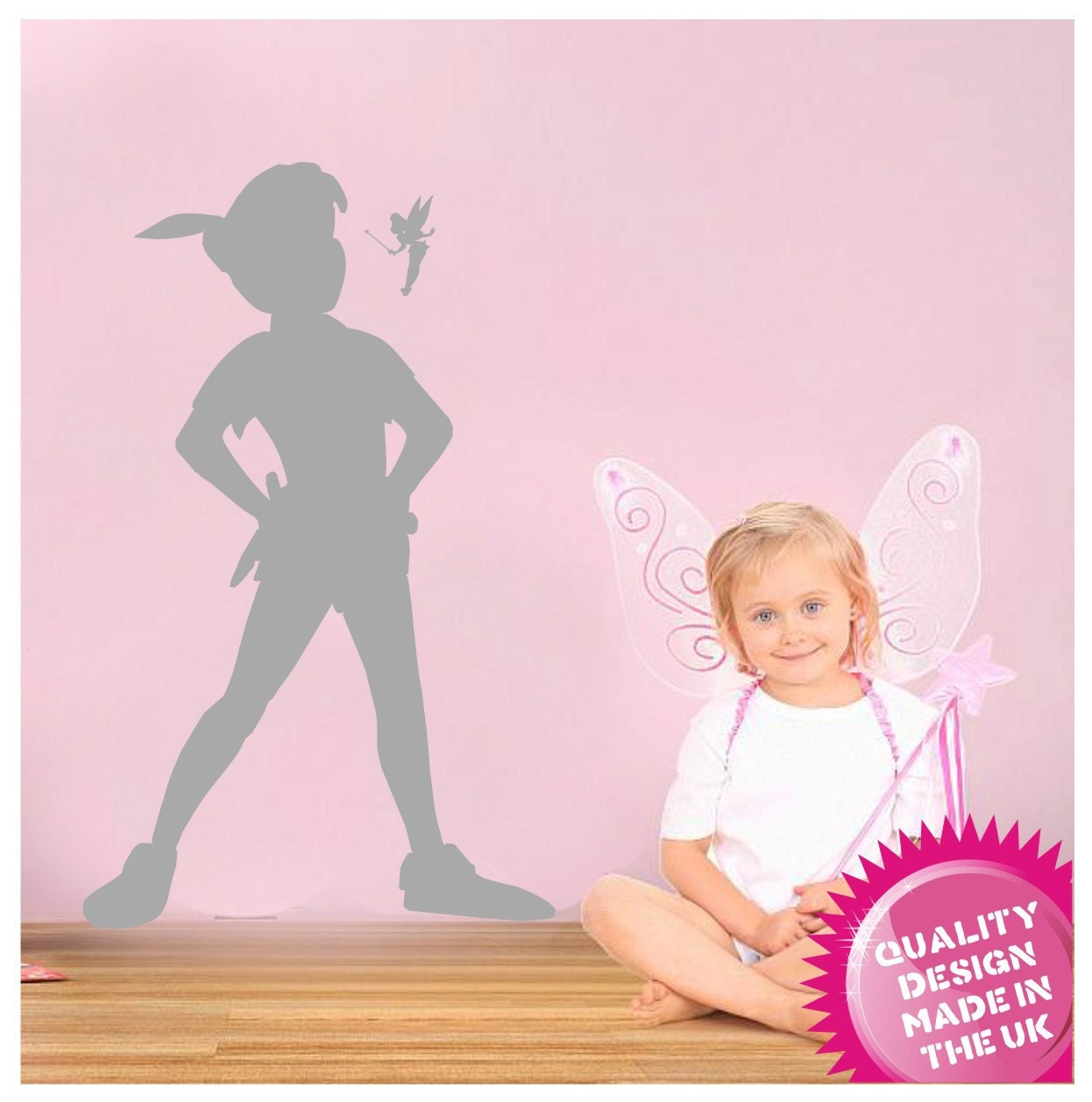 peter pan and tinkerbell silhouette vinyl wall decal zoom