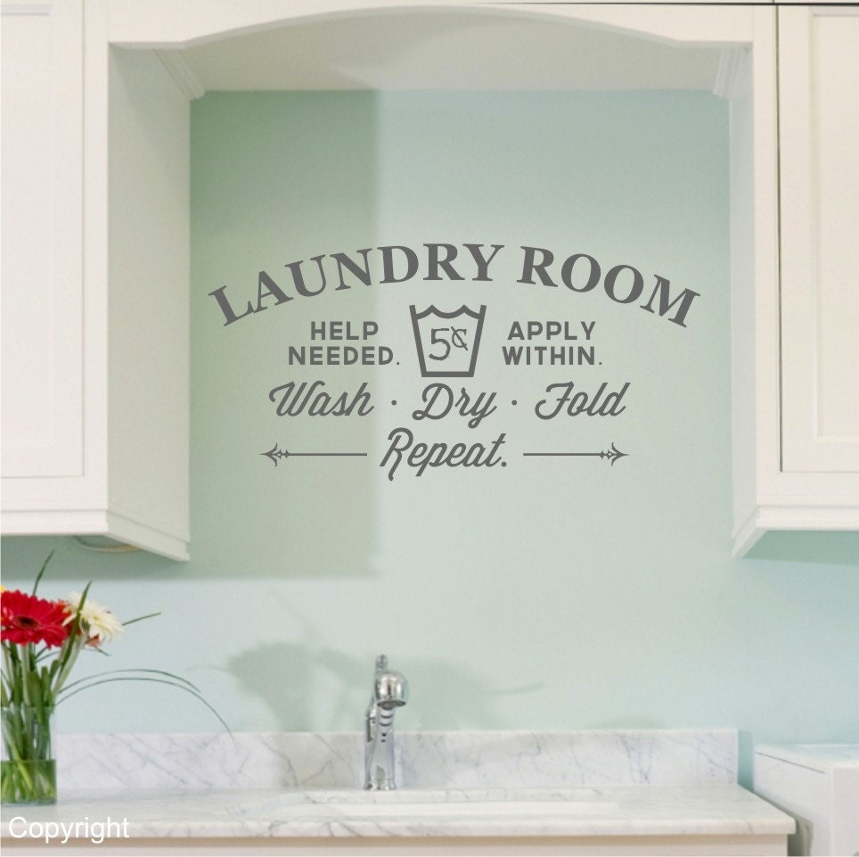 Laundry room vinyl wall decal sticker large - Laundry room wall ideas ...