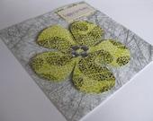 Happy Birthday: Handmade Yellow and Silver Flower Birthday Card