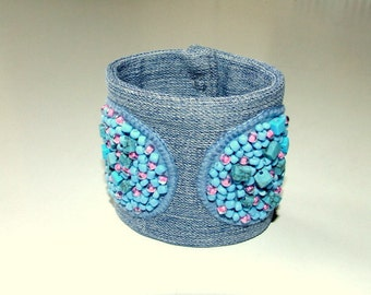 Cuff bracelet denim embroidered with beads and turquoise