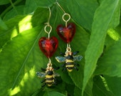 Bee-loved bee and heart earrings. They'll leave your ears buzzing