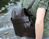 Dark brown leather backpack purse. Steampunk chic