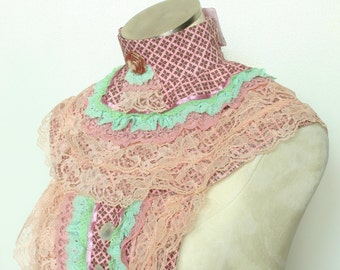 Victorian steampunk makeup coverup or dickie. Peach, pink, and green lace. Lovely