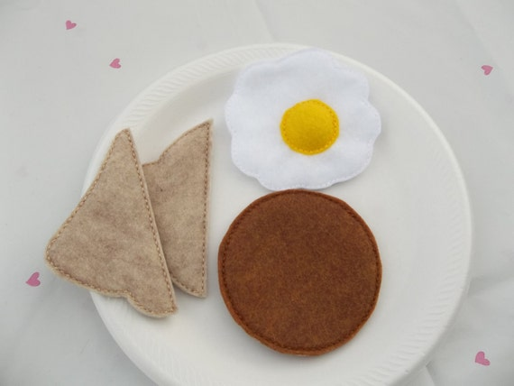 Felt Food - 4 Piece Small Breakfast Platter with Sausage, Egg & Toast Breakfast Felt Play Food Set