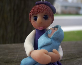 Custom made Big Sister holding baby Ornament OOAK Pure Sculpt Doll Art Primitive Special Occasion by Jessica Lynn ( Pookagirl Art )