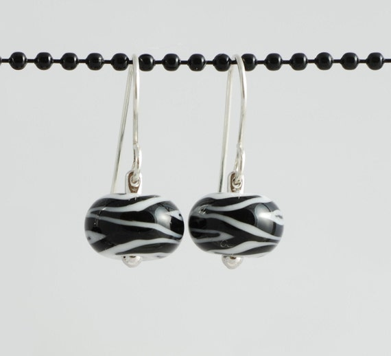 RESERVED  Black and White Zebra Earrings - Lampwork Glass Beads on Sterling Silver - Handmade Jewelry