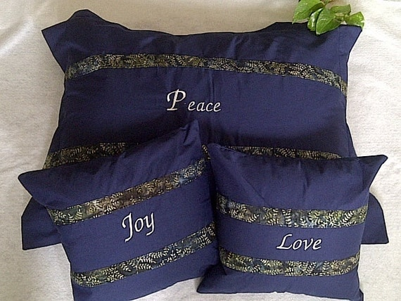 Inspirational Pillow Set- Love Peace and Joy Decorative Throw Pillows