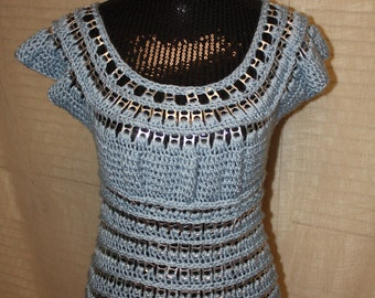 Vintage Baby Blue Soda Pop Tab Crochet Shirt Top Tunic, Hand made and One of A Kind Sz. Med-Large