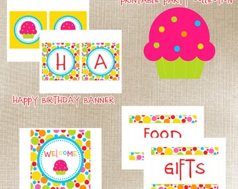 Cupcake Party - Printable Party Package - Over 15 fun printables included