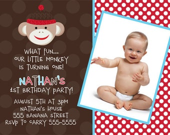 Sock Monkey Invitation