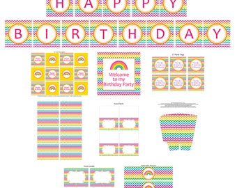 Rainbow Printable Party Package - Chevron